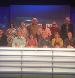 (L-R) Charles Thomas, Ian Chapman, Katharine Strain, Andy Ruding, Jackie Hamill-Keays and Christopher Mills with the BBC's Eggheads team